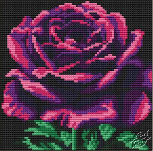 Cushion With Purple Rose by Collection D'Art - 5105