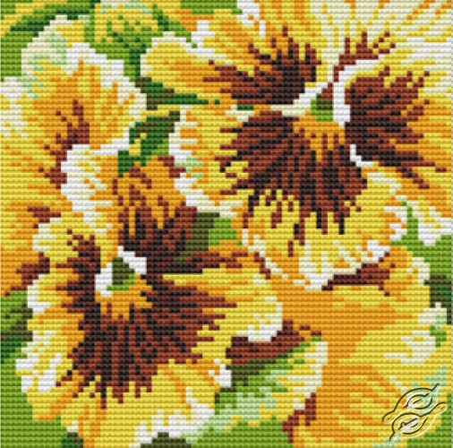 Cushion With Pansies III by Collection D'Art - 5097