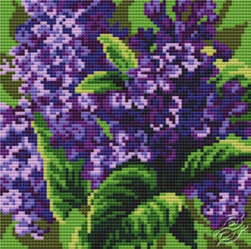 Cushion With Lilacs II by Collection D'Art - 5066
