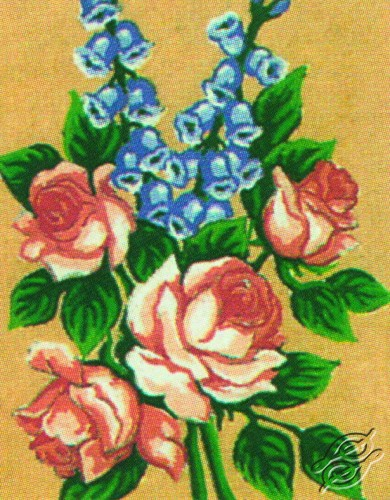 3.114 Roses With Bluebells by Collection D'Art - 3114