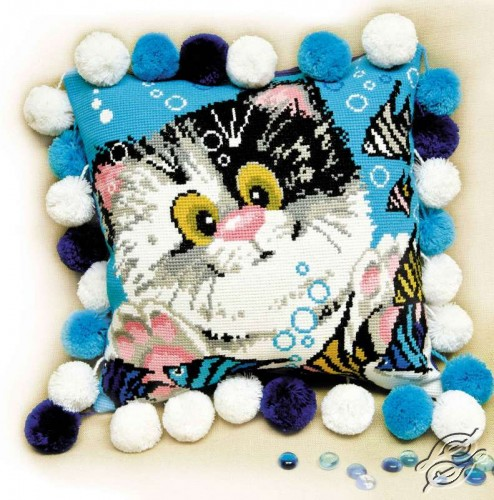 Cushion With Kitten I by RIOLIS - 1100