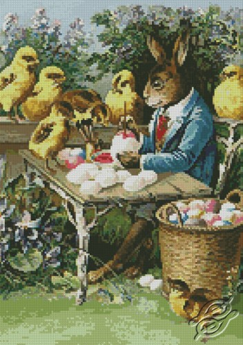 Easter Bunny Painting Eggs by Free Cross Stitch Online - GSF00002
