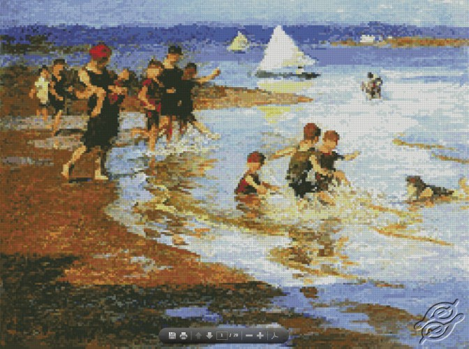 Children At Play On The Beach by Free Cross Stitch Online - GSF00019