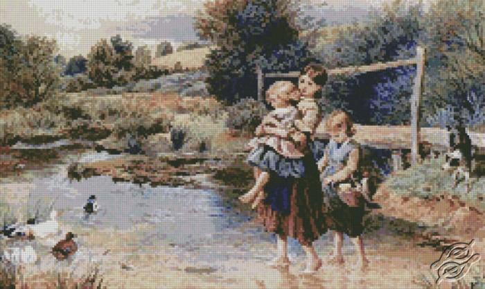 Children Paddling in a Stream by Free Cross Stitch Online - GSF00020
