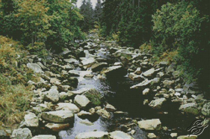 Mountain Stream in Summer by Free Cross Stitch Online - GSF00035