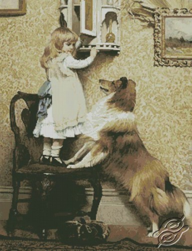 A Little Girl and her Sheltie by Free Cross Stitch Online - GSF00036