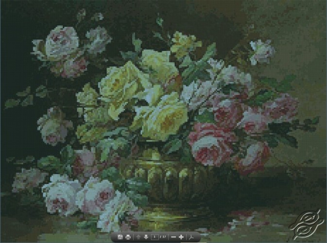Roses in a Brass Vase by Free Cross Stitch Online - GSF00048
