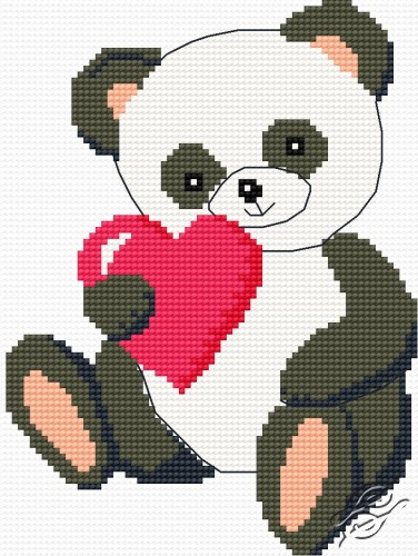 Panda With Valentine's Day Card by HaftiX - patterns - 00485