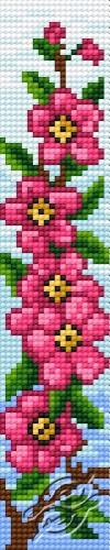Bookmark In Pink Flower Pattern by HaftiX - patterns - 00582
