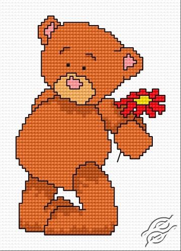 Teddy Bear With Flower by HaftiX - patterns - 00737