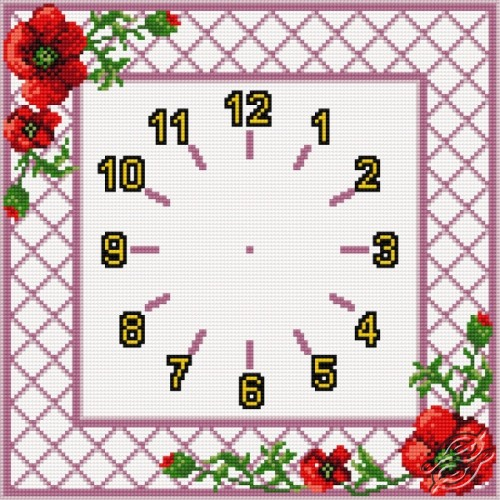Clock With Poppies by HaftiX - patterns - 00853