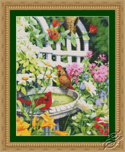 Cardinals in Birdbath by Kustom Krafts - 97133