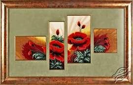 Triptych Poppies by Alisena - 1110