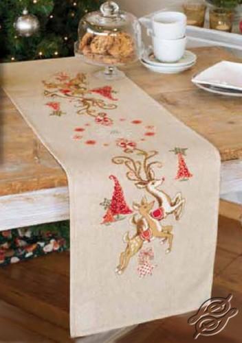 Table Runner - Jumping Reindeers by Vervaco - PN-0150838