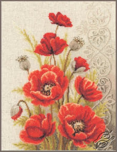 Poppies and Swirls by Vervaco - PN-0146330