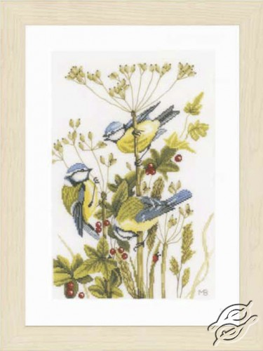 Blue Tits with Red Berries by Lanarte - PN-0156945