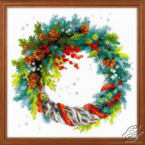 Winter Wreath with Blue Spruce by RIOLIS - 1603