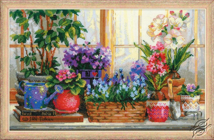 Windowsill with Flowers by RIOLIS - 1669