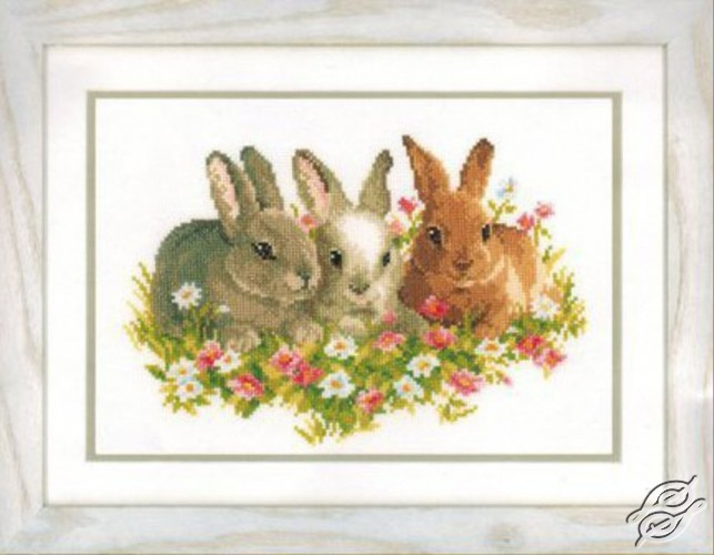 Rabbits in the Field of Flowers by Vervaco - PN-0143866