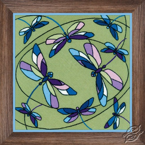 Cushion/Panel Stained Glass Window. Dragonflies by RIOLIS - 1655