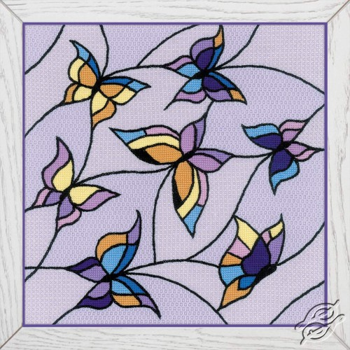 Cushion/Panel Stained Glass Window. Butterflies by RIOLIS - 1625