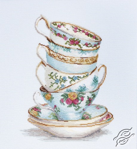 Turquoise Themed Tea Cups by Luca-S - B2325