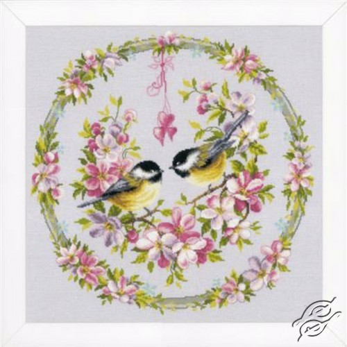 Tits in Flower Wreath by Vervaco - PN-0169582