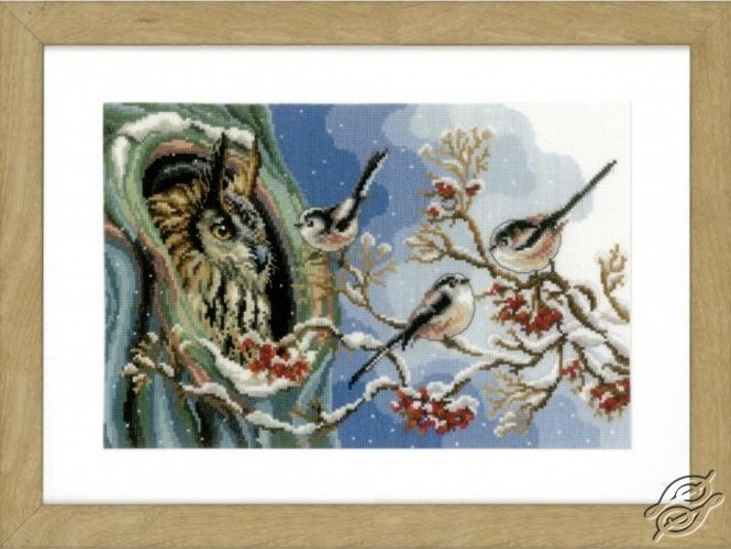 Owl and Long-Tailed Tits by Vervaco - PN-0157405