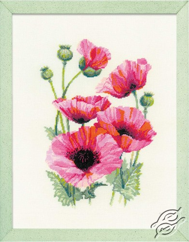 Pink Poppies by RIOLIS - 1775