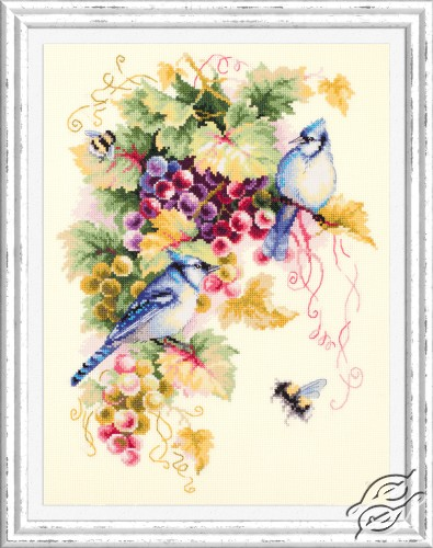 Blue Jay and Grapes by Magic Needle - 130-022