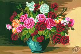 Roses in Vase by Collection D'Art - 6117K