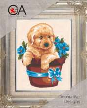 Puppy in Flowers by Collection D'Art - 3140K
