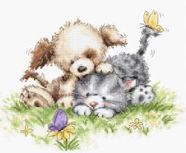 Dog and Cat with Butterfly by Luca-S - B1185